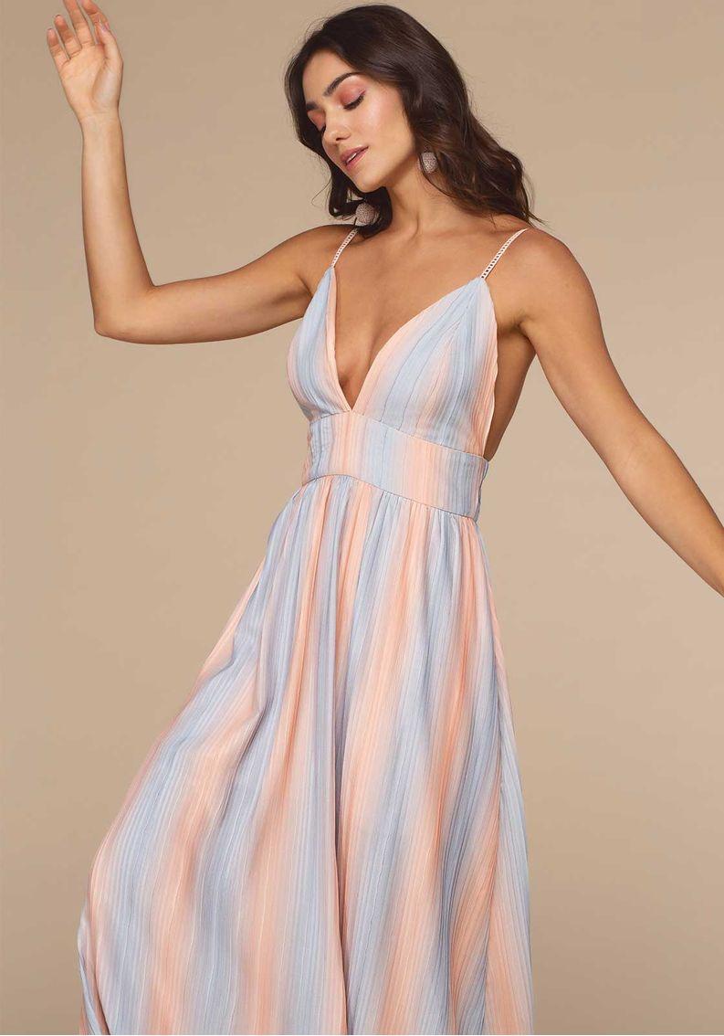 Vestido Longo Plissado Tie-Dye