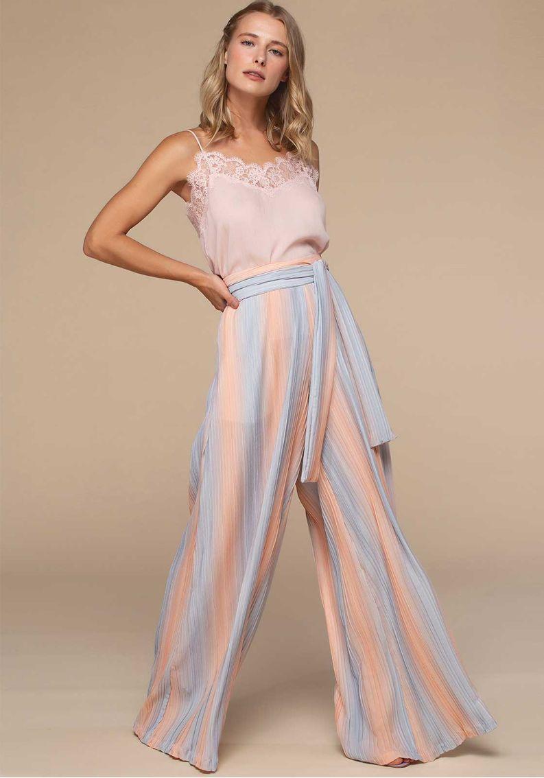 Calça Pantalona Plissada Tie-Dye
